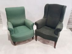 Two 19th century armchairs, one wing back, both in green covers and both with loose fitting