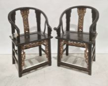 Pair of Chinese armchairs,black painted and gold coloured finish, carved and pierced back splat