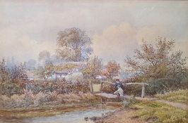 William Wilde (1826-1901) Watercolour Children playing with boat in river, farm cottage beyond,