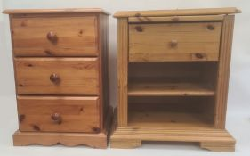 Pine bedside chest of three drawers and a pine bedside table with brushing slide, single drawer