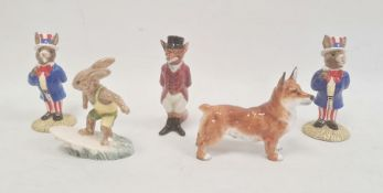 Five Royal Doulton animal figures, printed green and brown marks, comprising two Uncle Sam Bunnykins