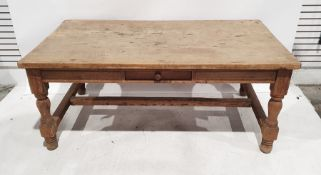 Possibly 19th century pine rectangular table with drawer to frieze, turned and block supports,