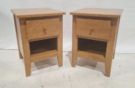 Pair of modern bedside tableswith single drawer above shelf (2)