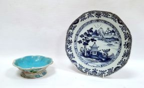 Chinese blue and white plate, the centre decorated with a pagoda lake scene, 23cm diameter and a
