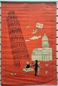 Vintage Italian picture tea towel, humorous scene of Pisa, copyright R Peynet.C.Perfetto, on hanger