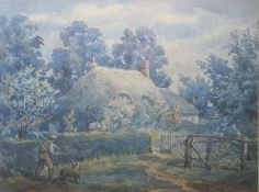 19th century school Watercolour drawing Man with dog outside thatched cottage, unsigned,22cm x 29cm
