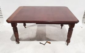 Late 19th/early 20th century mahogany extending dining table, the rectangular top with moulded edge,