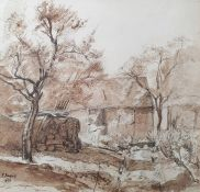 E Payne Watercolour drawing Figure at work beside farm building, en grisaille, signed and dated