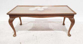 Modern rectangular mahogany coffee tableon cabriole legs