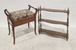 Piano stoolwith needlework upholstered seat and a two-tier wall hanging shelving unit(2)