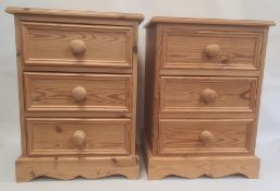 Pair of 20th century pine three-drawer bedside chests, 44cm x 60cm (2)