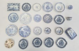 Collection of Staffordshire pottery miniature plates, dishes and other dinnerware, 19th century