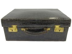 Vintage black crocodile vanity case, satin lined, no fittings