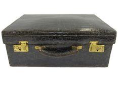 Vintage black crocodile vanity case, satin lined, no fittings