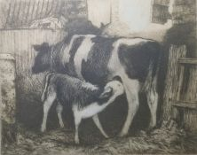 """Gillian Stroudley Pair etching and aquatints """"In the Cowshed"""" and """"Looking West"""" (2)"""