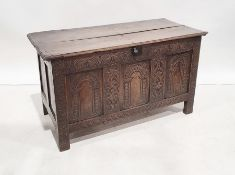 Late seventeenth century carved oak coffer with lunette frieze, three carved rounded arched panels