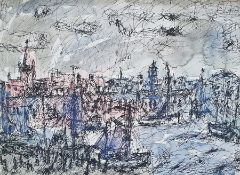 O Hall (?) Pen, ink and wash Harbour scene with numerous sailing boats, signed indistinctly lower