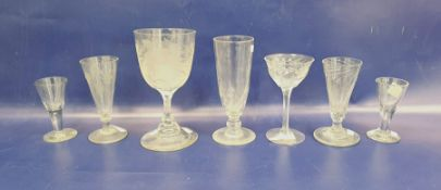 Old acid etched ale goblet, a spirally wrythen fruit glassand a quantity of principally 19th