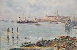 A. Nickolsky (20th century) Oil on canvas Harbour scene Signed lower right and dated 1964 49.5cm x