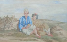 19th century school Watercolour drawing Two Middle Eastern figures seated on dunes, 13cm x 20cm