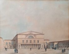Victor Jean Nicolle (1754-1826) Pair watercolour drawings Figures and carriages before