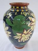 """Foley """"Intarsio"""" baluster-shaped vase, marked 'July 1st 1900', decorated with water lilies on a blue"""