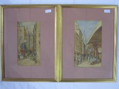 """P. Bedecy - Early 20th century school Watercolours Pair """"St Malo"""" street scenes, 'R. Broussa's' and"""