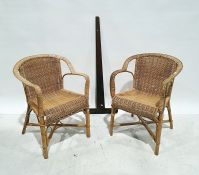Pair of cane armchairsand a draughtsman's square(3)