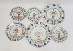 Part service of Imari palette decorated porcelain viz:- pair circular graduated chargers, smaller