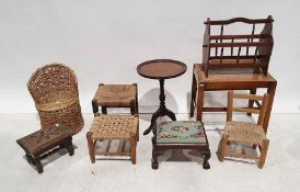 Assorted miscellaneous furnitureto include small stools, magazine rack, cane seated stool, circular