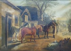 Mitchell (19th century) Oil on canvas Farmyard scene with horses, signed indistinctly lower left,
