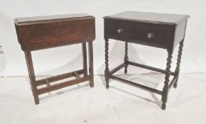 Oak single drawer side table and one further table