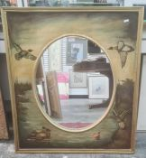 Oval mirror with framedpainted landscape surrounded, ducks in flight and on a pond, 88cm x 77cm
