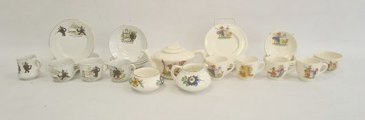 Assorted pottery part doll's tea services, circa 1930 and later, the first printed with Ride-a-