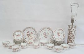 Dresden-style porcelain  tea service for eight persons, allover naturalistic floral decoration and