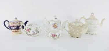 Collection of teapotsto include two green decorated Bargeware-style teapots, a Carltonware-style