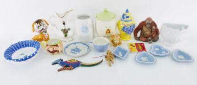 Quantity of assorted ornaments, ceramics, handbags, silk scarves (3 boxes)