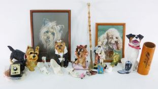 Resin models of Cairn and Yorkshire Terriers and a Jack Russell, assorted ceramicsto include