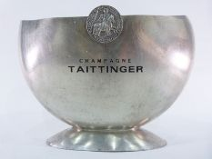 Large metal Taittinger champagne cooler, with armorial crest and fitted inner plastic base, 31cm x
