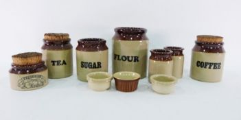 Earthenware storage jars, glass decanters, photograph frame, scent bottlesto include Issy Mayake,