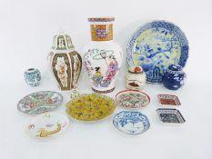 Assorted Oriental ceramics to include large platter, small ginger jars, large vase, lidded vase, a