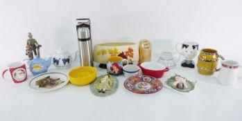 Large resin modelof a Cairn Terrier, ceramic modelof a Yorkshire Terrier, ceramic modelof an