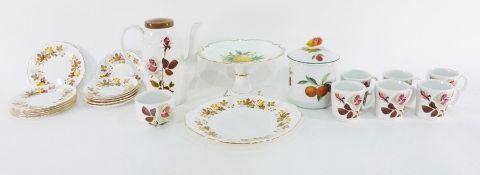 Camelot Ironstone Washington pottery part tea service, a comport, ornaments, assorted prints, carved