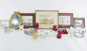Quantity of assorted glassware including vase, bowl etc. and other items including prints,