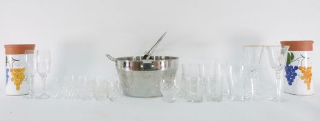 Kenwood stick blender and attachments, assorted glassware, large jam pan, boxed tumblers, pair of
