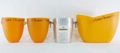 Three Veuve Clicquot plastic wine coolers anda Mercier champagne metal wine cooler(4) Condition