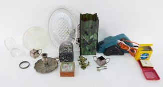 Two boxes of assorted glassware, Tiffany-style lamp and Black & Decker electric plane(3 boxes)