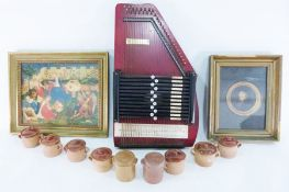 Assorted framed prints, zita, lidded terracotta small pots, a Habana wooden cigar box, a clockwork