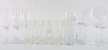 Assorted glasswareto include tumblers, two Peroni glasses and others, white ramekins, cut glass