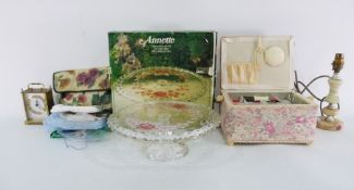 Moulded glass cake platein original box, marked 'Annette', assorted prints, a sewing basket, a